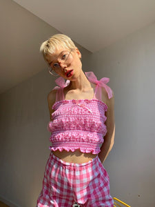 Mette in centre, wearing Calypso pink pastel gingham top