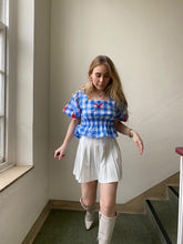 Load image into Gallery viewer, Blue Gingham Puff Sleeve Top
