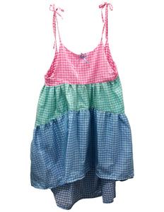 gingham tiered mini dress front view