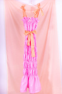 pink gingham midi dress front view