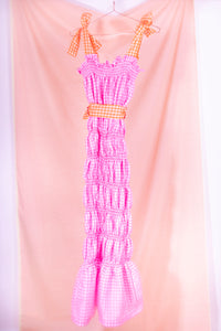 pink gingham midi dress back view