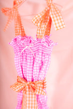 Load image into Gallery viewer, pink gingham midi dress top view