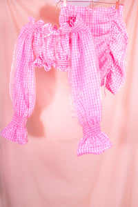 pink gingham mini skirt coord view