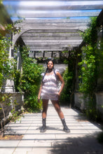 Load image into Gallery viewer, Sheerah in Pergola Gardens wearing cherry print mini dress
