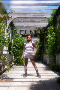 Sheerah in Pergola Gardens wearing cherry print mini dress