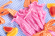 Load image into Gallery viewer, pink gingham midi dress shirring detail