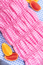 Load image into Gallery viewer, pink gingham midi dress shirring skirt detaill