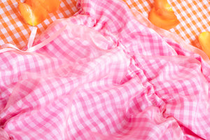 pink gingham mini skirt ruching detail
