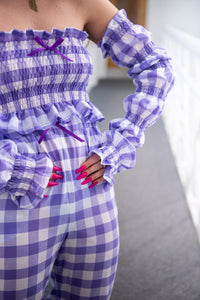Lilac Gingham Shirred Opera Gloves