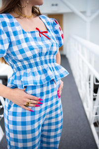 Blue Gingham Puff Sleeve Top