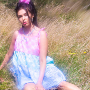 AQUILA ~ gingham tiered mini dress ~
