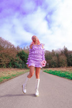 Load image into Gallery viewer, Lilac Gingham Shirred Mini Dress