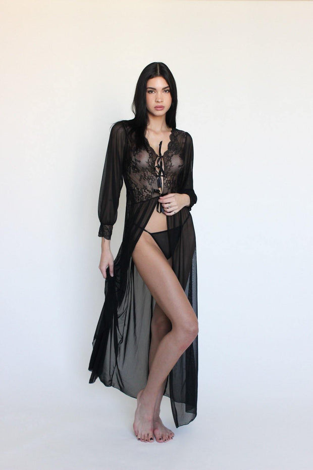 black lace sexy vintage chic ribbon tie robe duster beverly hills lingerie hollywood