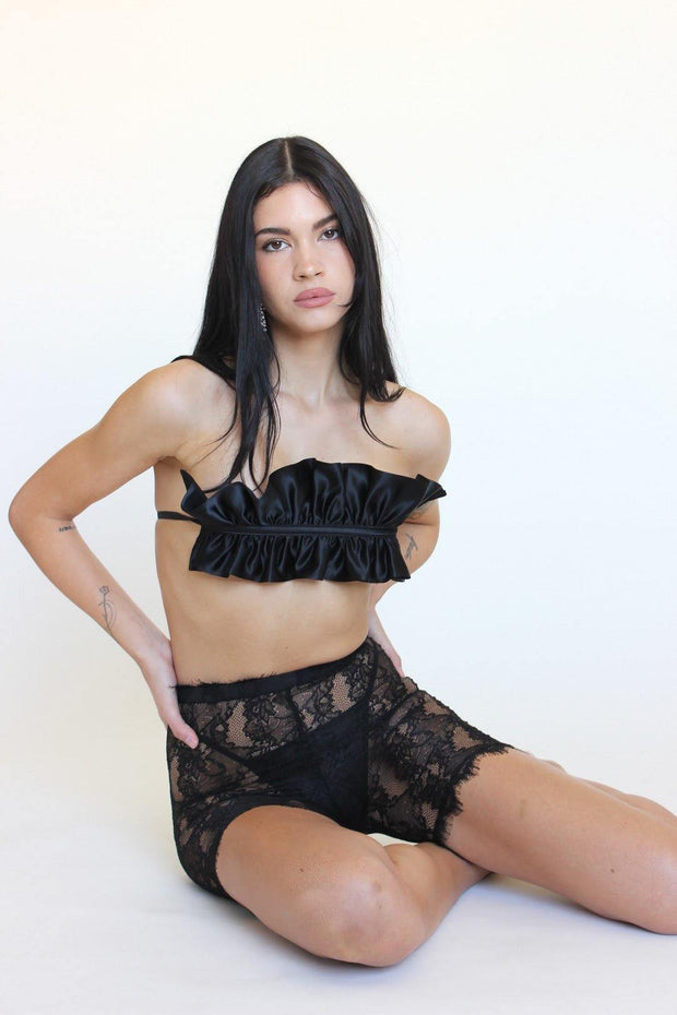 sexy lingerie beverly hills lingerie black top ruffles