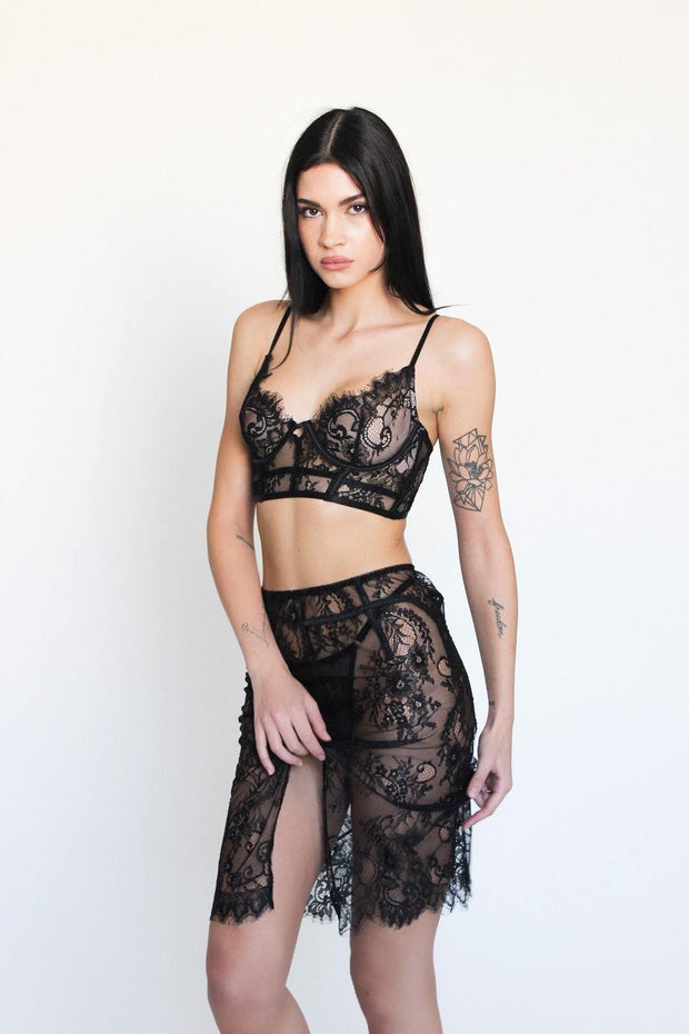 sexy two piece black set la perla fleur du mal victoria's secret lace bralette eyelash trim sexy skirt with slit bedroom gift black friday cyber monday deals discounts sale