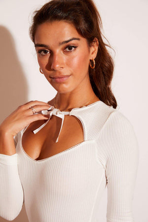 Cute, high-quality, affordable, sexy, trendy, beautiful, women's fashion top, celebrity favorite, soft, and comfortable lingerie cool long sleeve white ribbed bodysuit