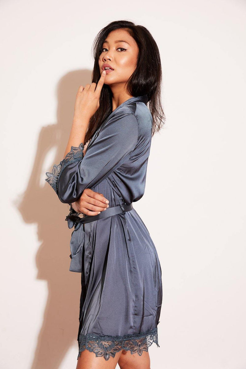 Cute, high-quality, affordable, sexy, trendy, beautiful, women's fashion top, celebrity favorite, soft, and comfortable lingerie satin silk robe with lace detail