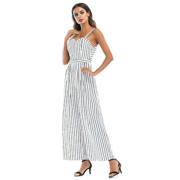 Cotton: Ladies: Dress: Street chic / Sophisticated White Black Red Jumpsuit, Striped Backless.