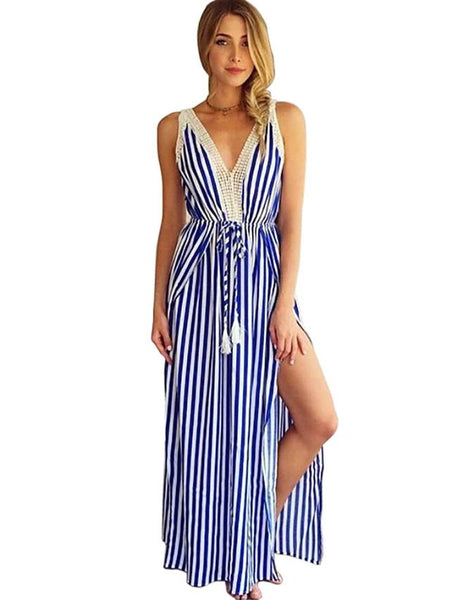 Cotton: Ladies: Dress: Striped Party Holiday Vintage Street chic Maxi Slim Shift Swing - Striped Blue & White, Lace Cut Out Split V Neck Deep V Summer.