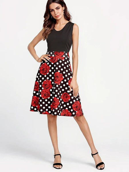 Cotton: Ladies: Dress: Daily Vintage Sheath Swing - Floral Summer  Black.