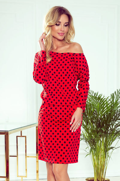 Cotton: Ladies: Dress: Sports with neckline at the back - red + black polka dots.