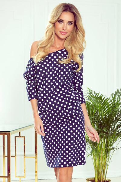 Cotton: Ladies: Dress: Sports with neckline at the back - navy blue + white polka dots.