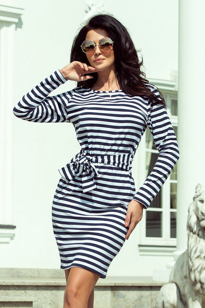 Cotton: Ladies: Dress: With a wide tied belt - navy blue stripes.