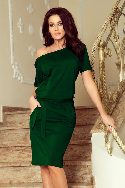 Cotton: Ladies: Dress: With short sleeves - green