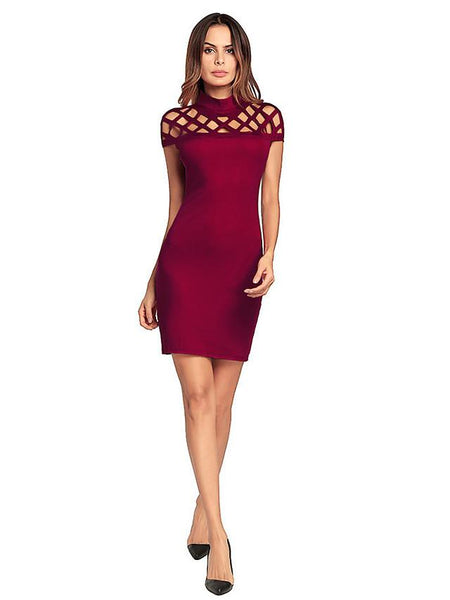 Cotton: Ladies: Dress: Cut Out Party Slim Body-con - Solid Colored Red, Cut Out High Waist Stand Spring Green Black Red.