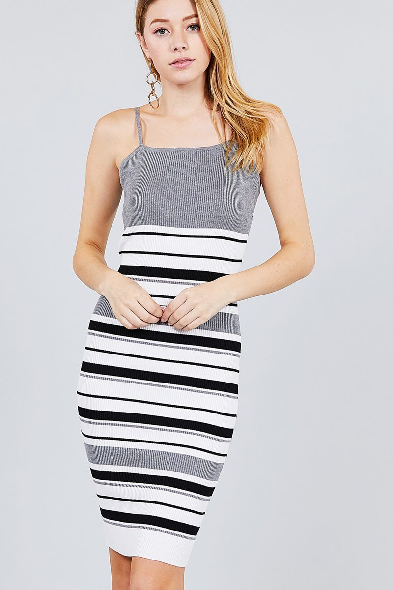 Rayon: Ladies: Dress: Straight Neck Multi Stripe Cami Mini Sweater.