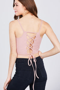 Cotton: Ladies: Crop Top: Scoop Neck W/back Cross Strap Detail Waist Self Tie Ribbed.