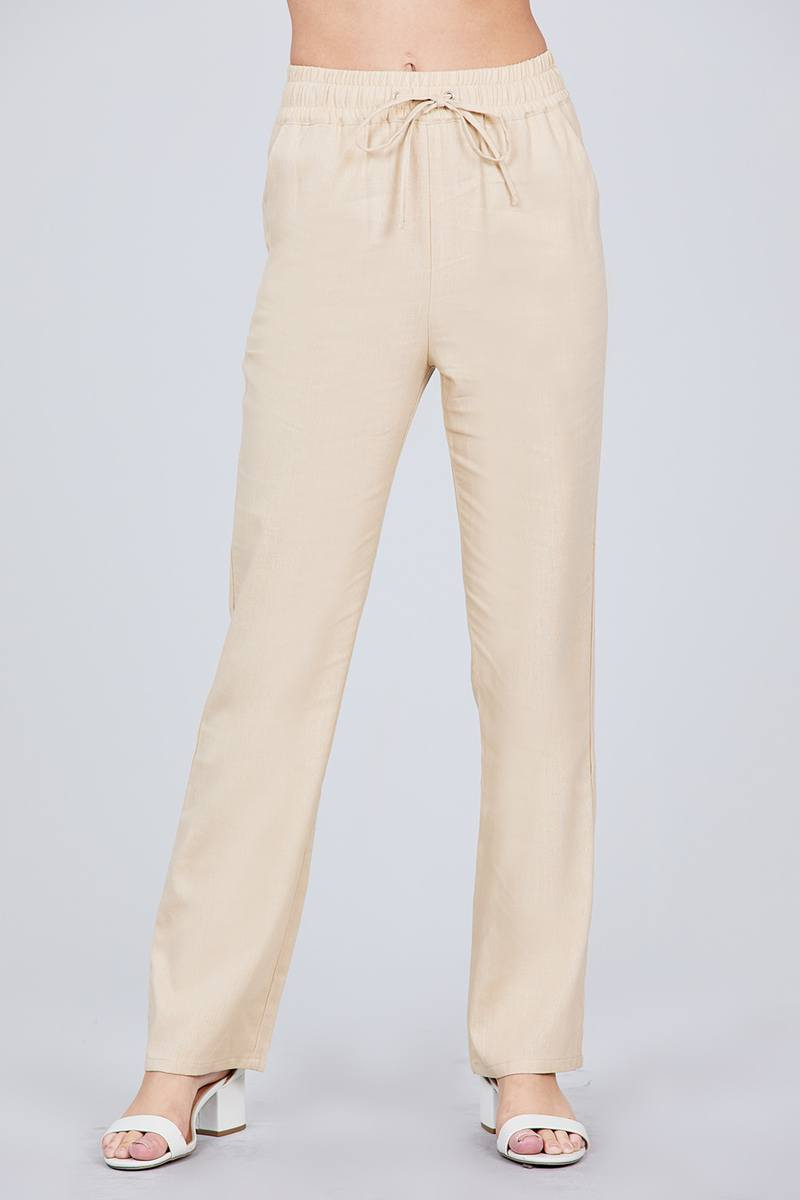 Linen: Ladies: Waist Elastic W/drawstring Long Pants.