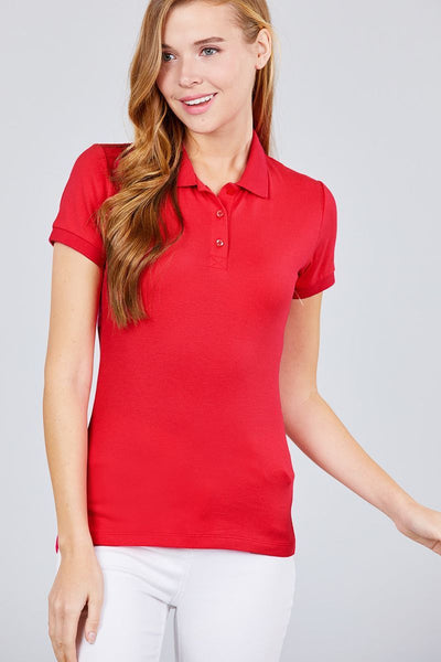 Cotton: Ladies: Top: Classic Pique Spandex Polo.