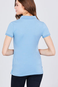 Cotton: Ladies: Plus: Classic Jersey Spandex Polo.