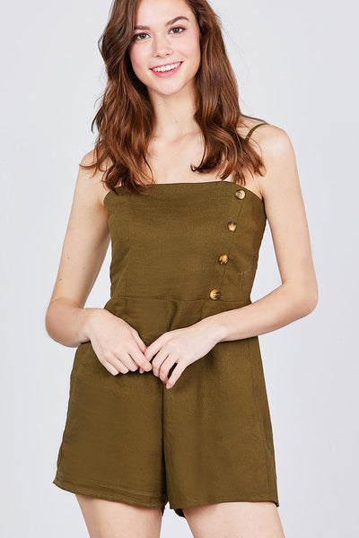 Linen: Ladies: Button Down Cami Romper.