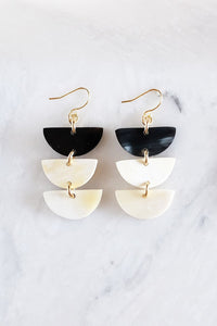 Jewelry: Earrings: Hanoi 16K Gold Plated Triple Crescent Stacked Buffalo Horn.