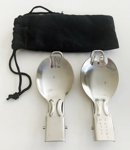 Sustainables: Stainless Steel Foldable Spork & Spoon Cutlery Set with travel pouch.
