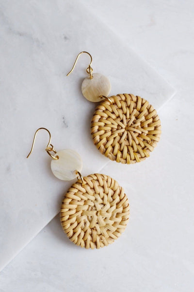 Jewelry: Earrings: Hoa Lu 16K Gold Plated Natural Rattan (Straw/Wicker) & Buffalo Horns.