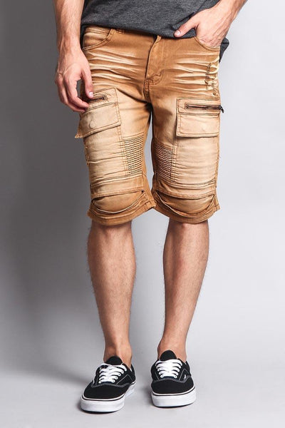 Cotton: Mens: Shorts 97%: Washed Zipper Cut Biker.