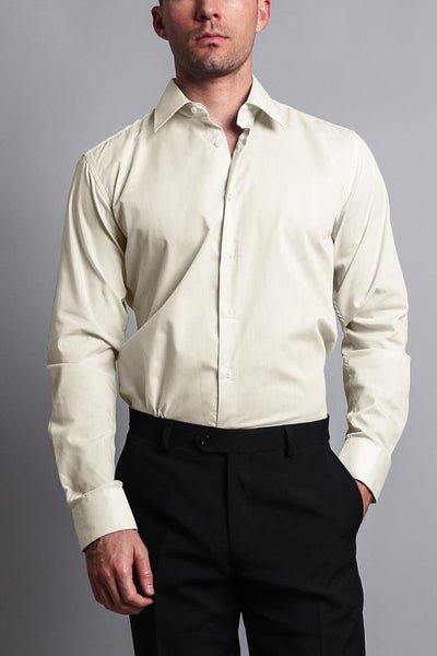 Cotton: Mens: Shirts: Slim Fit Solid Color Dress(Ivory).