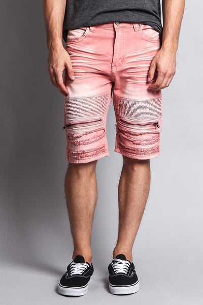 Cotton: Mens: Shorts 97%: Faded Zipper Front Biker.