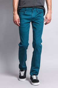 Cotton: Mens: Jeans 97%: Skinny Fit Colored(Devil Blue).
