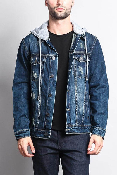 Cotton: Mens: Jacket 100%: Layered Hooded Denim.
