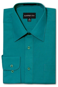 Cotton: Men: Shirt: Basic Solid Color Button Up Dress(Teal).