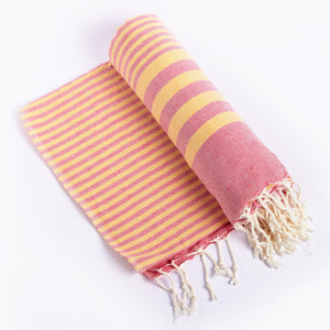 Cotton: Throw: HLANA: Fethiye Striped Ultra Soft Blanket - Pink.