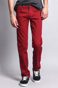 Cotton: Mens: Jeans 97%: Skinny Fit Colored(Rust).