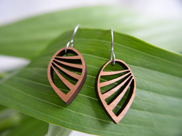 Jewelry: Wing Earrings in cherry wood.