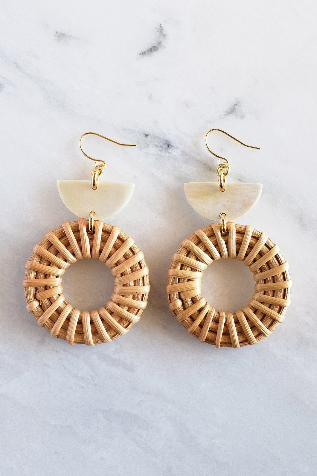 Jewelry: Earrings: Ninh Binh 16K Gold Plated Brass Honey Horn & Rattan (Straw/Wicker) Crescent & Donut.