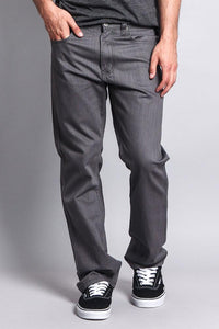 Cotton: Mens: Jeans 100%: Straight Fit Colored Denim(Charcoal).