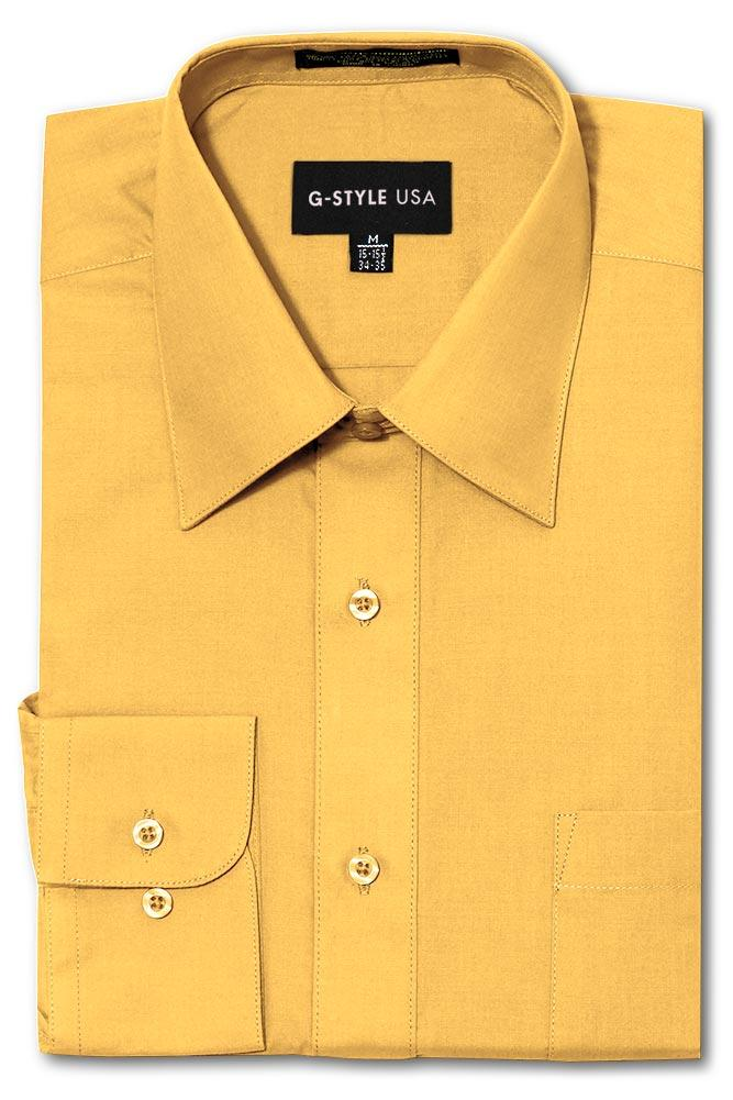 Cotton: Men: Shirt: Basic Solid Color Button Up Dress(Yellow).